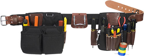 A Complete Lightweight Full Sized Set For The Master Electrician With Many Leather Tool Holders Efficient Hand Specific And Fastener Organization